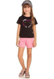 Blusa Infantil Quebra Cabeça Verão Cute Feminina - Feminino-Preto