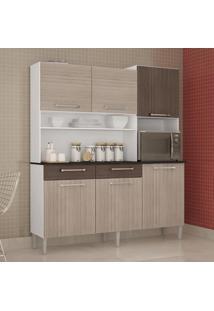 Cozinha Compacta 6 Portas 2 Gavetas Valéria 6174 Amêndoa/Capuccino - Poquema