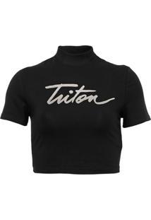 Camiseta Cropped Triton Logo Preta