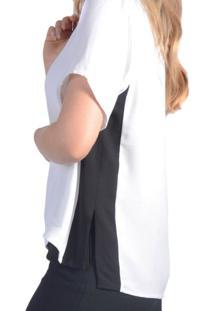 Camiseta T-Shirt Viscose Faixa E Fenda Lateral Pop Me Branco