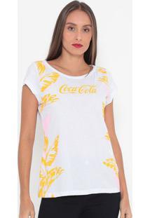Camiseta Folhagens Com Inscrição- Branca & Amarela- Coca-Cola
