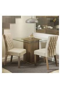 Conjunto Sala De Jantar Madesa Cassia Mesa Tampo De Vidro Com 2 Cadeiras Rustic/Imperial