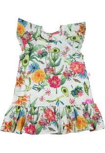 Vestido Infantil Tricoline Estampado Digital Dylan Floral Summer - Branco 1