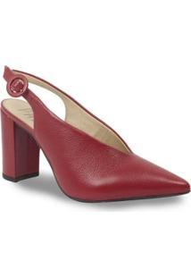 Sapato Chanel Parô Em Couro Feminino - Feminino-Vermelho