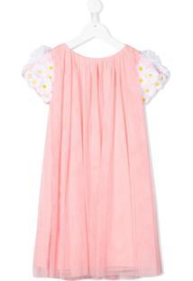 Charabia Vestido Com Tule E Aplicação Floral - Rosa