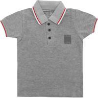 Camisa Polo Calvin Klein Kids Menino Liso Cinza 00a31dbb8820e