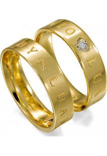 Aliança Casamento De Ouro Lisa Com Gravação Externa - As0911 + As0912