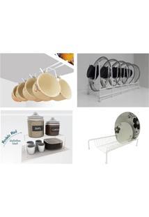 Kit Organizador Armário Cozinha Xícara Prato Panela 100% Aço Dicarlo Branco