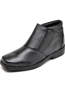 Bota Casual Rubim Calçados Couro Zíper Resistente Leve Conforto Preto