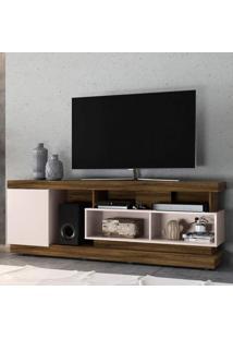 Rack Bancada Para Tv Até 75 Polegadas 1 Porta 5 Nichos Tijuca Colibri Canela Rústico/Off White