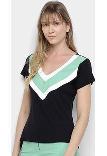 Camiseta Acostamento Manga Curta Feminina - Feminino-Preto