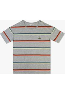 Camiseta Lacoste Listrada Cinza