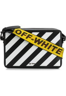 Off-White Pochete Com Listras Diagonais - Preto