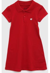 Vestido Polo Elian Infantil Liso Vermelho