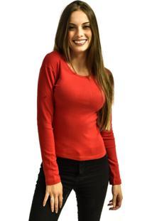 Camiseta Nakia Manga Longa Básica Feminina Lisa Malha Vermelha - Kanui