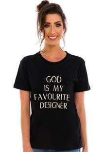 Camiseta Bordada God Jogabe Feminina - Feminino-Preto