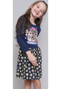 Vestido Infantil Lol Surprise Com Glitter Manga Longa Azul Marinho