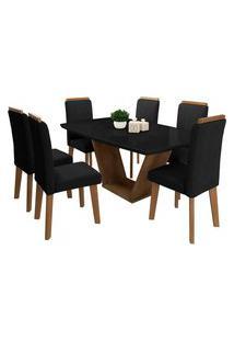Conjunto Mesa De Jantar Diamante Preto 1,70X0,90 C/ 6 Cadeiras Rv Móveis