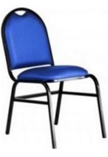 Cadeira Fixa Essencial Hot Em Couro Ecológico Azul Ce151 Pethiflex