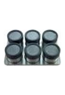 Jogo De 6 Porta Condimentos Inox Com Superfície Retangular