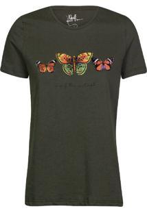 Camiseta Feminina Borboletas Militar