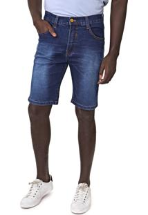Bermuda Jeans Fatal Reta Estonada Azul
