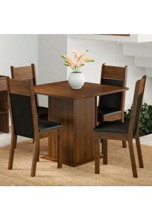 Conjunto Sala De Jantar Madesa Malibu Mesa Tampo De Madeira Com 4 Cadeiras Marrom - Tricae