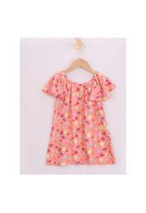 Vestido Infantil Estampado De Frutas Manga Curta Ampla Coral