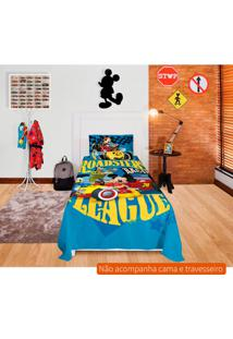 Jogo De Cama Infantil Com 2 Peças Mickey Aventura Sobre Rodas Algodão Azul