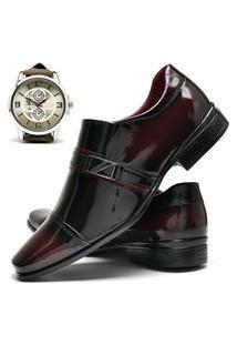 Sapato Social Masculino Com E Sem Verniz Db Now Com Relógio New Dubuy 820Od Vinho