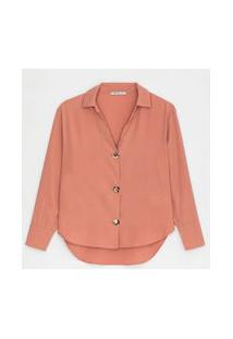 Camisa Manga Longa Com Botões Contrastantes | Cortelle | Rosa Claro | Gg