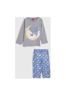 Pijama Tricae Longo Infantil Sleep Cinza/Azul