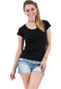 Camiseta Básica Feminina - Feminino-Preto