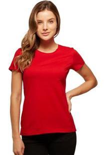 Camiseta Basicamente Babylook Básica Feminina - Feminino-Vermelho