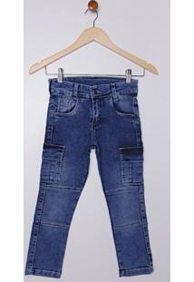 Calça Jeans Cargo Infantil Para Menino - Azul