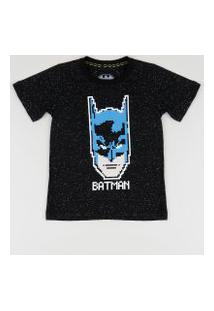 Camiseta Infantil Batman Manga Curta Gola Careca Preta