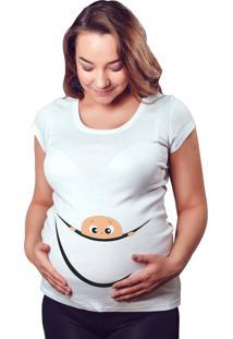 Camiseta Criativa Urbana Gestante Mãe Bebe Espiando Branco