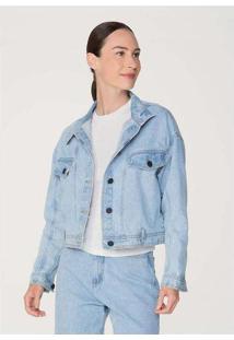 Jaqueta Jeans Feminina Em Algodão Azul