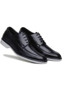 Sapato Social Masculino Cadarço Bico Redondo Confortável - Masculino-Preto+Cinza