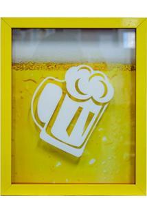 Quadro Chopp Porta Tampinhas 22X27X3 Cm Amarelo