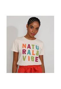 "Camiseta Feminina Manga Curta ""Natural Vibe"" Decote Redondo Bege Claro"