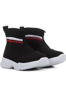Sapato Infantil Molekinha Botinha Tecido Feminino - Feminino-Branco