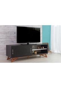 Rack Para Tv Preto Moderno Vintage Retrô Com Porta De Correr Preta Freddie - 140X43,6X48,5 Cm