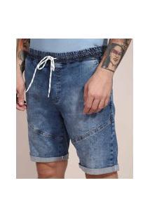Bermuda Slim Jeans Com Recorte Azul Médio