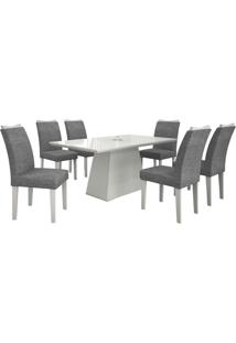 Mesa De Jantar Pampulha 180Cm Quina Reta Com 6 Cadeiras Branca / Linho Cinza