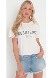 "Camiseta ""Resilience""- Off White & Verde Escuro- Colcolcci"
