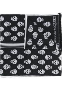 Alexander Mcqueen Cachecol De Lã Com Estampa De Caveira - Preto