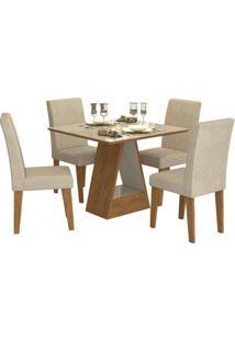 Sala De Jantar Alana 95 Cm Com 4 Cadeiras Savana/Off White Sued Bege