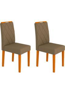 Conjunto Com 2 Cadeiras Isabela Ipê E Marrom