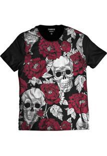 Camiseta Di Nuevo Caveira Mexicana Rosas Florida Swag Preta